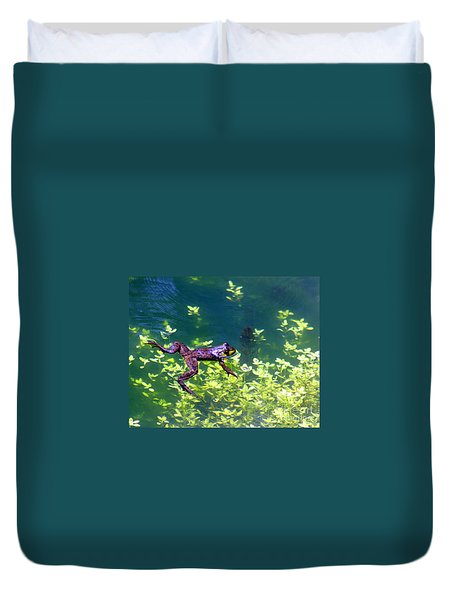 Floating Frog Duvet Cover