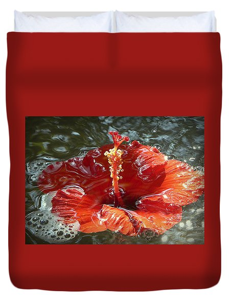 Floating Hibiscus Duvet Cover by Lori Seaman