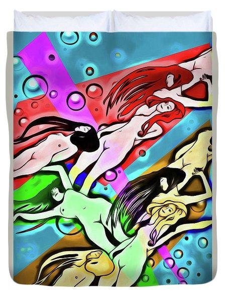 Duvet Cover featuring the digital art Floating by John Haldane