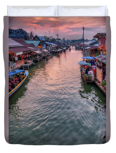 Floating Market Sunset Duvet Cover