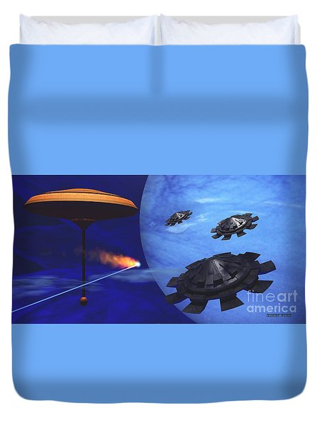 Floating Space City Duvet Cover by Corey Ford