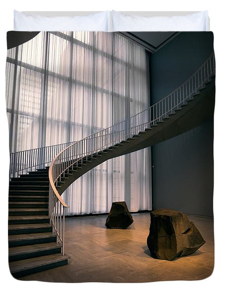 Floating Spiral Staircase Of Chicago Art Institute Duvet Cover