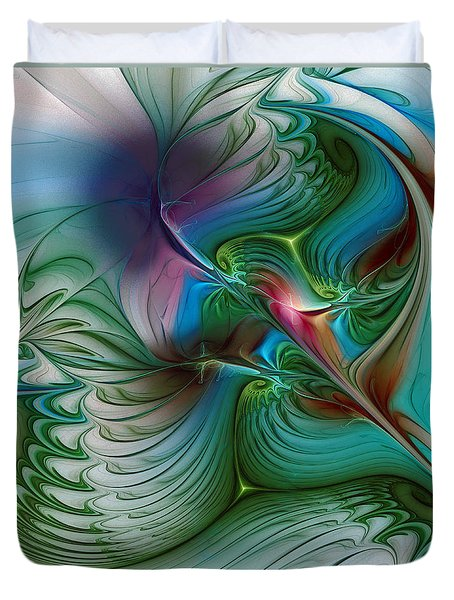 Duvet Cover featuring the digital art Floating Through The Abyss by Karin Kuhlmann