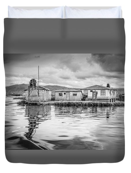 Duvet Cover featuring the photograph Floating Uros Island by Gary Gillette