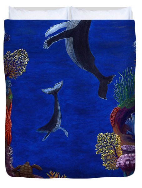 Floating Whales Duvet Cover by Rebecca Parker