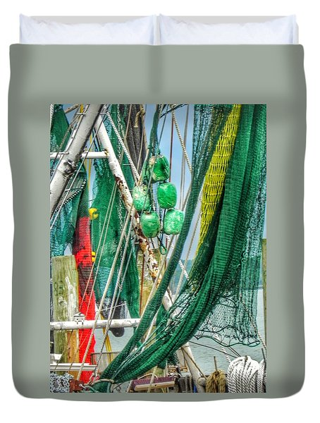 Duvet Cover featuring the photograph Floats Ropes And Nets by Patricia Greer