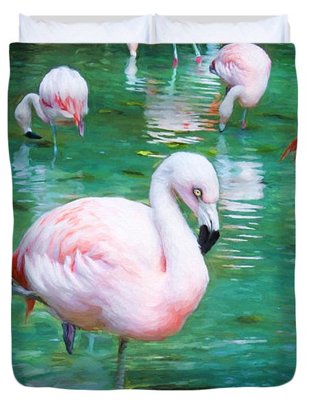 Flock Of Flamingos Duvet Cover