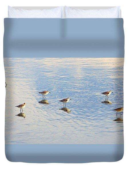 Flock Of Sanderlings Duvet Cover