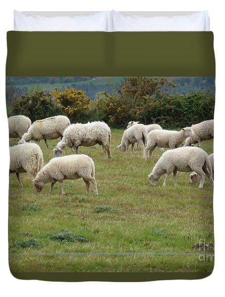 Flock Of Sheeps Duvet Cover by Jean Bernard Roussilhe