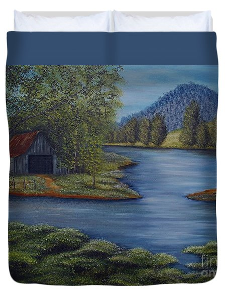 Flooded Farms Duvet Cover