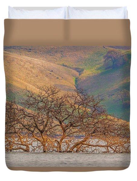 Flooded Tree And Hillside Duvet Cover