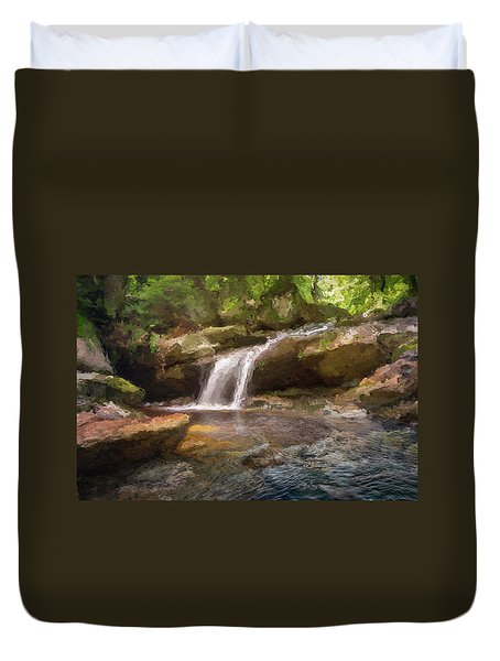 Flooded Waterfall In The Forest Duvet Cover
