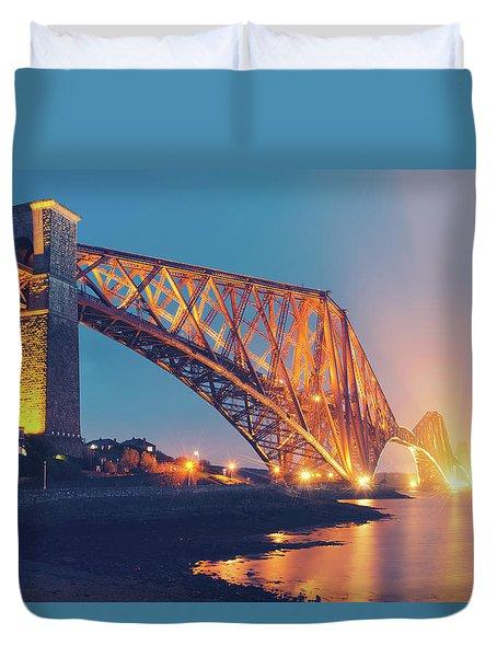 Floodlit Forth Bridge Duvet Cover by Ray Devlin