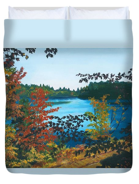 Duvet Cover featuring the painting Floodwood by Lynne Reichhart