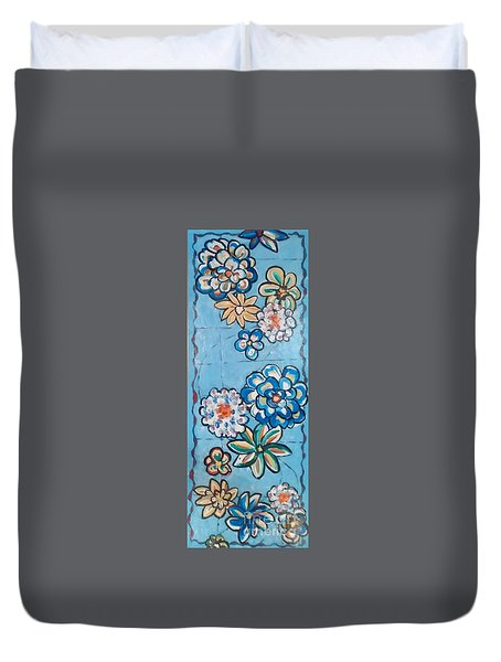 Floor Cloth Blue Flowers Duvet Cover by Judith Espinoza