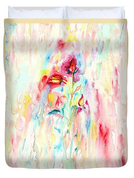 Duvet Cover featuring the painting Floral Abstract by Elizabeth Lock
