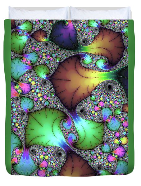 Duvet Cover featuring the photograph Floral Abstract Fractal Art Green Gold Brown Purple by Matthias Hauser
