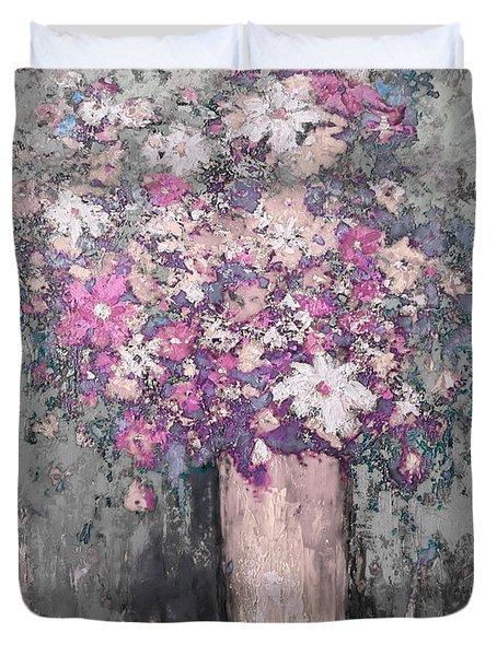 Floral Abstract - Reverse - Modern Impressionist Palette Knife Work Duvet Cover
