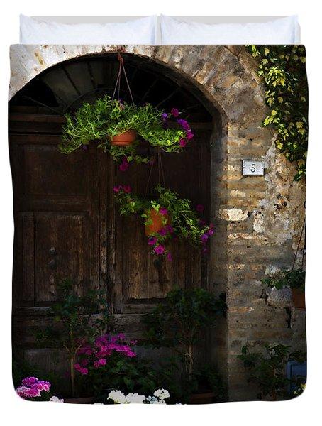 Floral Adorned Doorway Duvet Cover by Marilyn Hunt
