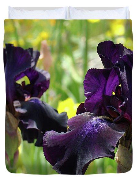 Floral Art Deep Purple Iris Flowers Irises Baslee Troutman Duvet Cover by Baslee Troutman
