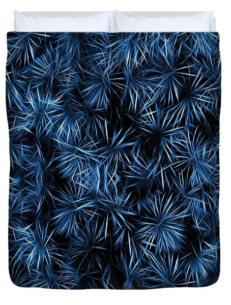 Floral Blue Abstract Duvet Cover by David Dehner