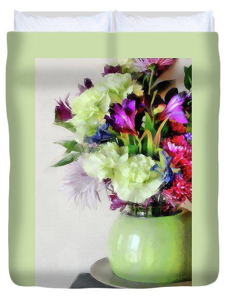 Floral Bouquet In Green Duvet Cover