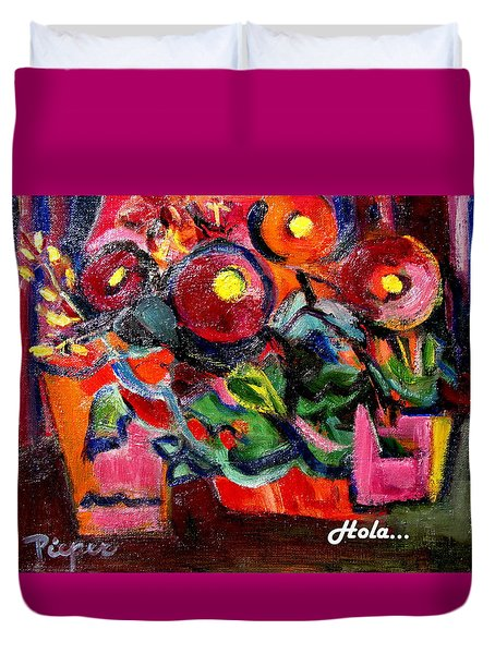 Floral Fiesta With Hola Duvet Cover