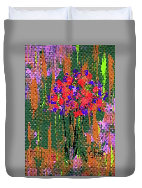 Duvet Cover featuring the painting Floral Impresions by P J Lewis