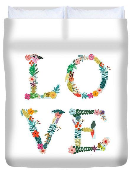 Floral Love Letters Duvet Cover