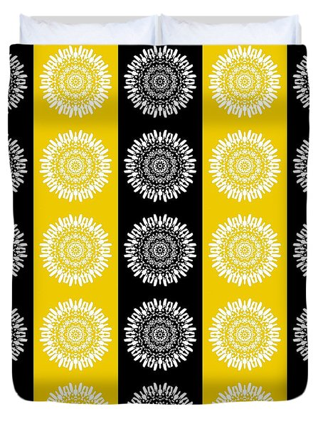 Floral Medallion Pattern In Black And Yellow Duvet Cover