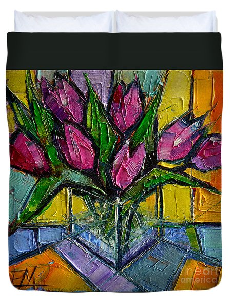 Floral Miniature - Abstract 0615 - Pink Tulips Duvet Cover
