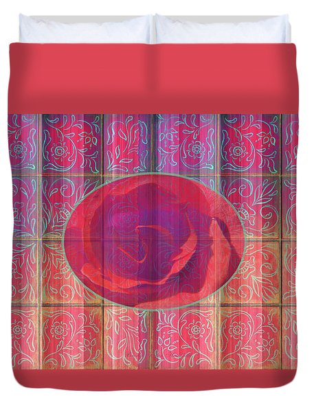 Floral Pattern And Design With Rose Center - Red And Blue Duvet Cover by Brooks Garten Hauschild