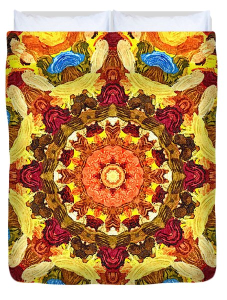Mandala Of The Sun Duvet Cover by Anton Kalinichev