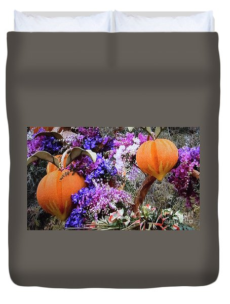 Duvet Cover featuring the photograph Floral Peaches by Linda Phelps