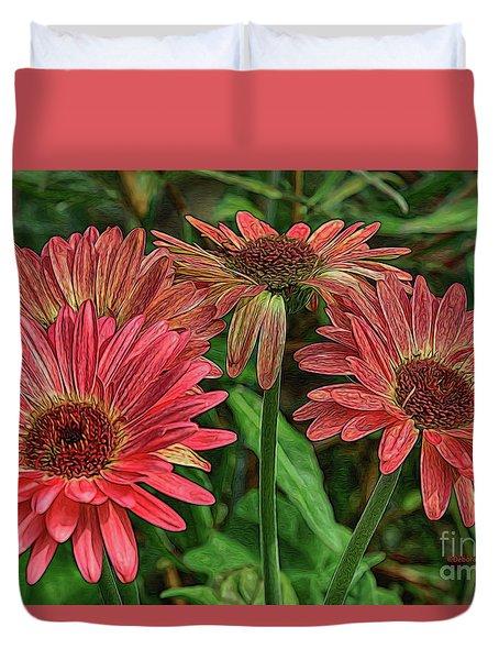 Duvet Cover featuring the photograph Floral Pink by Deborah Benoit