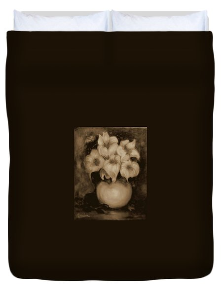 Floral Puffs In Brown Duvet Cover