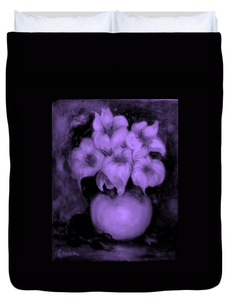 Floral Puffs In Purple Duvet Cover