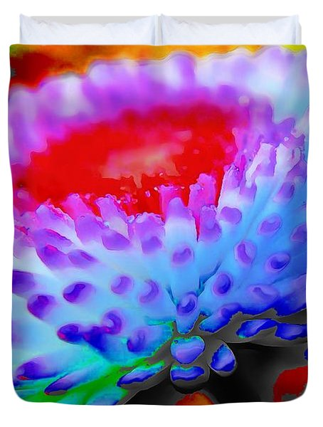 Floral Rainbow Splattered In Thick Paint Duvet Cover