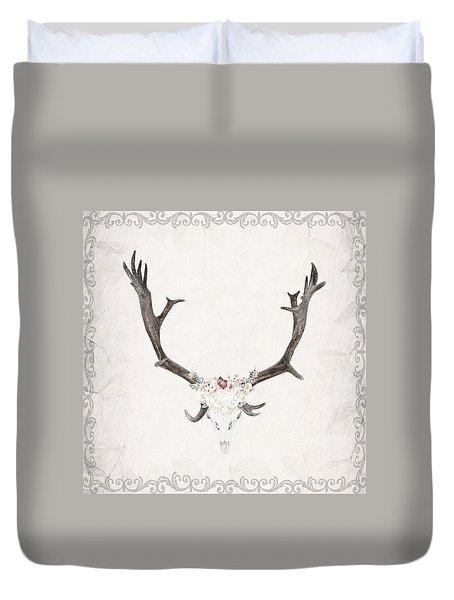 Floral Reindeer Skull  Duvet Cover