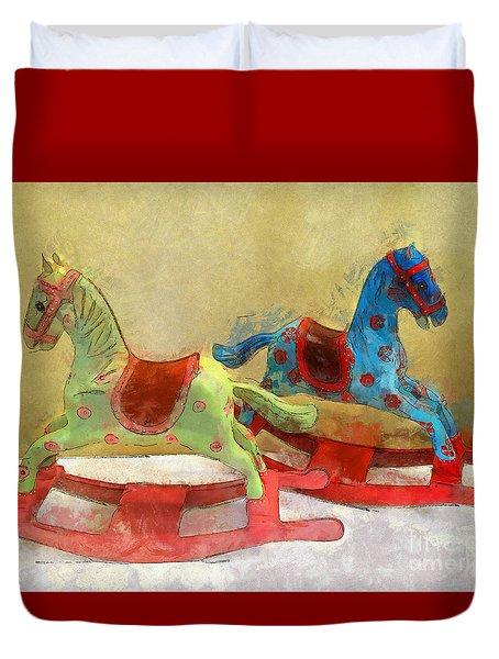 Floral Rocking Horses Duvet Cover