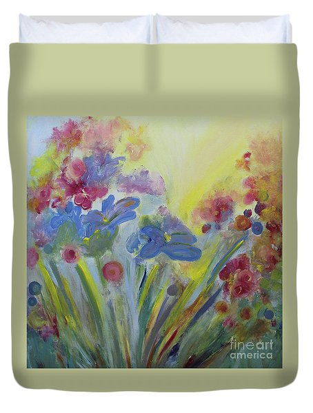 Duvet Cover featuring the painting Floral Splendor by Stacey Zimmerman