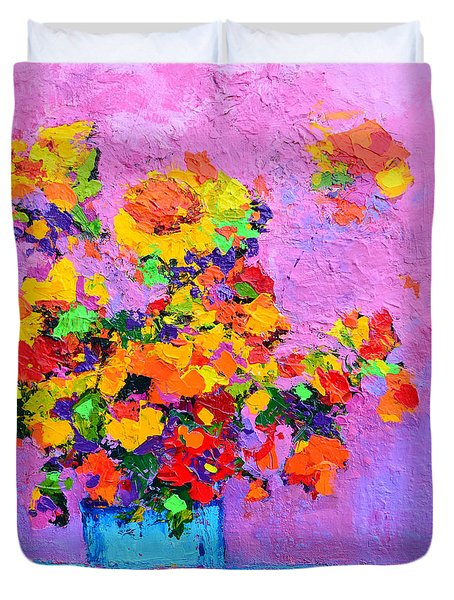 Floral Still Life - Flowers In A Vase Modern Impressionist Palette Knife Artwork Duvet Cover