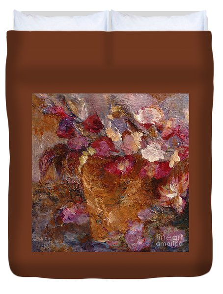 Floral Still Life Pinks Duvet Cover