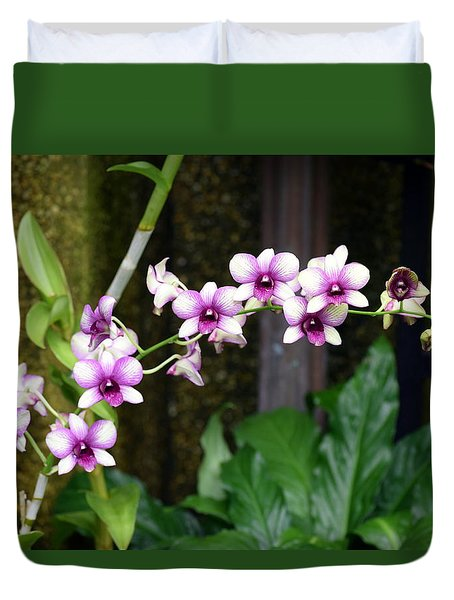 Duvet Cover featuring the photograph Floral Sway by Deborah  Crew-Johnson