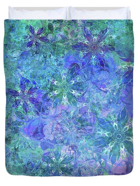 Floral Watercolor Blue Duvet Cover