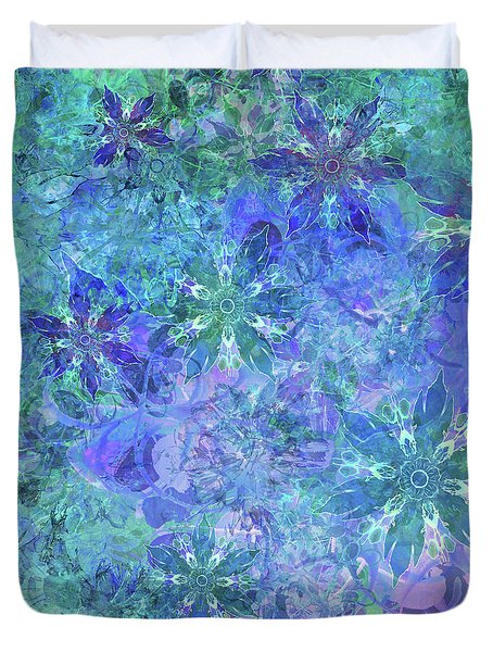 Floral Watercolor Blue Duvet Cover