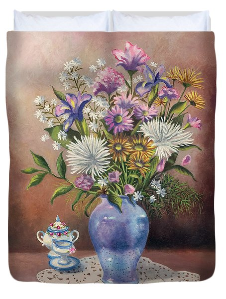Floral With Blue Vase With Capadamonte Duvet Cover