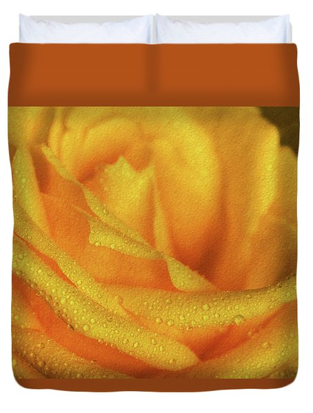 Duvet Cover featuring the photograph Floral Yellow Rose Blossom by Shelley Neff