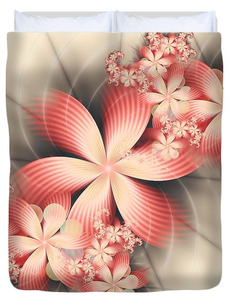 Duvet Cover featuring the digital art Floralina by Michelle H