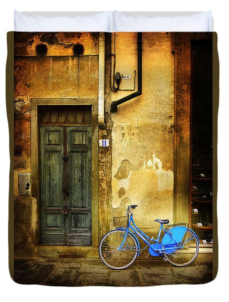 Duvet Cover featuring the photograph Florence Blue Bicycle by Craig J Satterlee